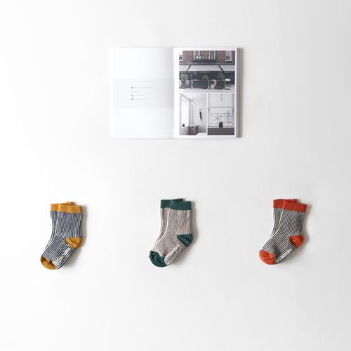 ted stripe pattern socks (3set)
