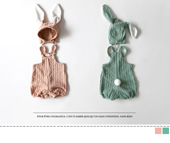 rabbit knit jumpsuit (set)