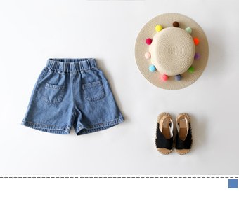 denim two-pocket short pants